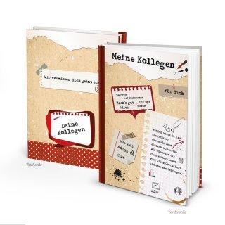 Kollegenbuch zum Abschied für Kollegen DIN A4 rot braun weiß - Buch zum Einschreiben