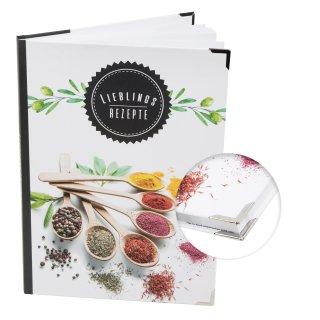 XXL Rezeptbuch mit leeren Seiten Hardcover DIN A4 LIEBLINGSREZEPTE mit Gewürzen bunt mit Metallecken