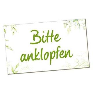 Bitte anklopfen Türschild - Hinweisschild Warnschild grün weiß 20 x 12 cm - Anklopfen-Schild mit Klebepunkten