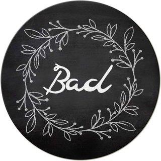Badezimmer Türschild Bad Schild schwarz weiß Tafelkreide-Optik 15,5 cm - Badezimmerschild mit Klebepads