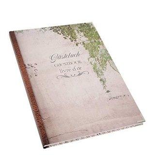Leeres Gästebuch DIN A4 Vintage für Hochzeit Pension Hotel Ferienhaus international - mit Metallecken