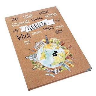 Gästebuch DIN A4 Hardcover braun mit Weltkugel Globus Motiv braun bunt - leere Seiten - mit Metallecken