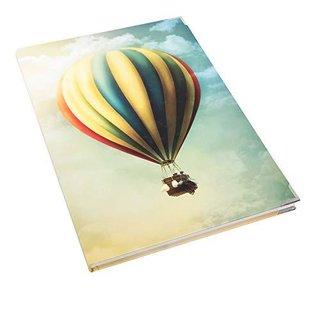 Großes XXL Notizbuch DIN A4 mit leeren Seiten Hardcover mit Metallecken - Heißluftballon bunt