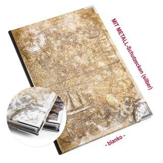 Kleines Notizbuch ALTE WELT hellbraun beige DIN A5 - Vintage Motiv Globus Weltkarte - mit Metallecken