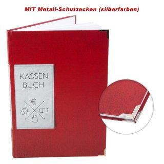 Ordnungsgemäßes Kassenbuch DIN A4 Hardcover - Übersicht Finanzen Ausgaben Einnahmen - rot mit Metallecken