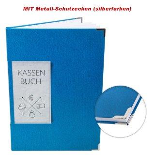 Ordnungsgemäßes Kassenbuch DIN A4 Hardcover - Übersicht Finanzen Ausgaben Einnahmen - blau mit Metallecken