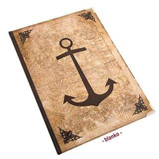 Leeres Notizbuch DN A4 Vintage mit ANKER-Motiv braun - leeres Buch zum Einschreiben mit Metallecken