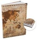 XXL blanko Notizbuch DIN A4 Hardcover braun mit leeren Seiten - Vintage Weltkarte Motiv mit Metallecken