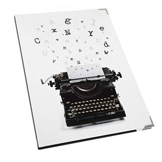 Leeres Notizbuch Blankobuch schwarz weiß Schreibmaschine-Motiv DIN A4 - Buch mit Metallecken