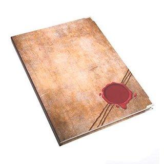 Großes Notizbuch mit leeren Seiten DIN A4 braun rot im Vintage-Stil - Hardcover Buch mit Metallecken