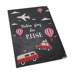 Reisebuch DAHIN GING DIE REISE schwarz rot mit leeren Seiten DIN A4 mit Metallecken