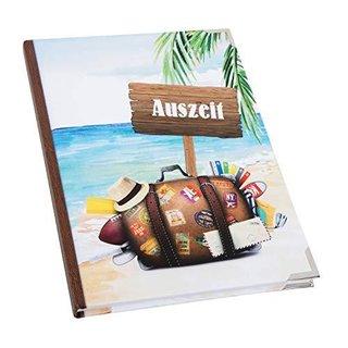 Leeres Notizbuch DIN A5 - Reisebuch mit leeren Seiten - Geschenk Urlaub Reise mit Metallecken