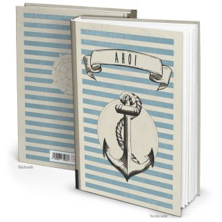 Notizbuch Blankobuch DIN A4 AHOI mit Anker-Motiv beige blau Hardcover Tagebuch Reisebuch