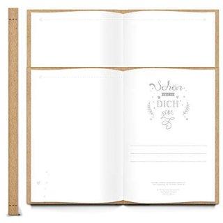Geschenkbuch SCHÖN DASS ES DICH GIBT leer braun DIN A4 mit Metallecken - Geschenk