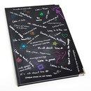 XXL Blankobuch Hardcover DIN A4 schwarz weiß mit bunten Sprüchen - leeres Buch mit Metallecken