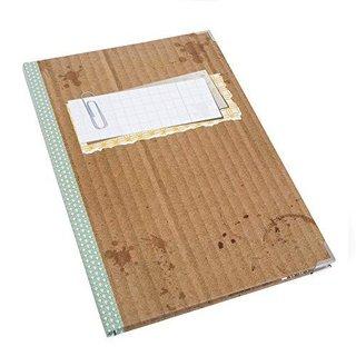 Großes Notizbuch DIN A4 braun grün im Vintage-Stil - beschreibbares Cover mit Metallecken