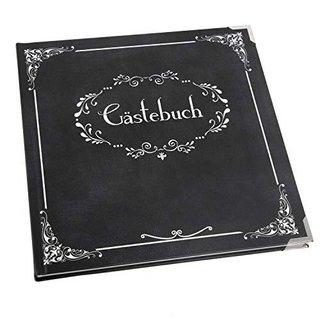 Gästebuch schwarz weiß edel - quadratisches Buch 21 x 21 cm leer zum Eintragen mit Metallecken