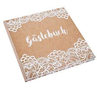 Hochzeitsgästebuch Kraftpapier-Optik mit weißer Spitze 21 x 21 cm - Gästebuch leer mit Metallecken