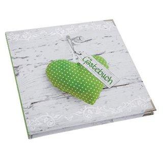 Quadratisches Gästebuch 21 x 21 cm leer blanko zum Eintragen - Holzoptik mit grünem Herz mit Metallecken