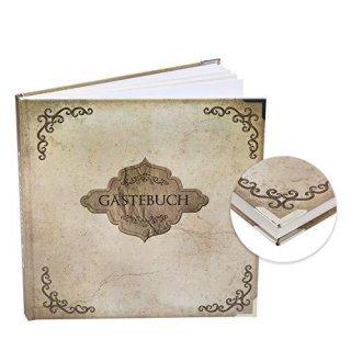 Vintage Gästebuch braun beige rustikal 21 x 21 cm - Buch für Gäste zum Eintragen mit Metallecken