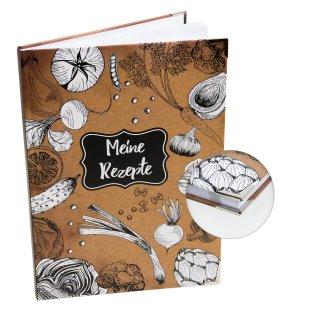 Großes Rezeptbuch braun schwarz weiß mit leeren Seiten DIN A4 mit Metallecken - Geschenk Küche