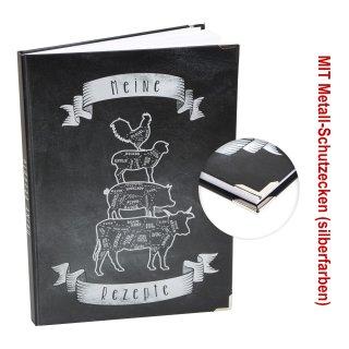 Großes Rezeptbuch DIN A4 mit leeren Seiten zum Selberschreiben - eigenes Kochbuch schwarz weiß mit Metallecken