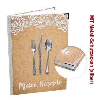 XXL A4 Kochbuch zum Selberschreiben mit Metallecken - beige braun Kraftpapier-Optik - MEINE REZEPTE