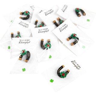 Kleine Hufeisen mit Marienkäfern & Nur eine Kleingkeit Karten - 10 Stück als give away