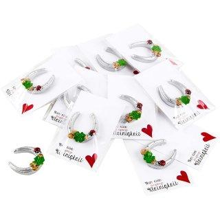 10 Mini Glücksbringer Geschenke - silbernes Hufeisen + weiße Karte NUR EINE KLEINIGKEIT