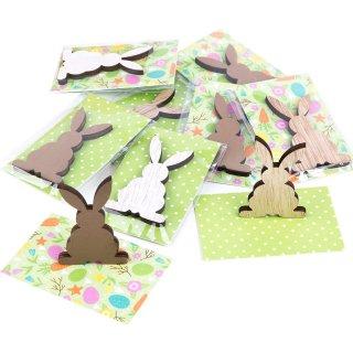 Kleine Ostergeschenke - weiß braune Holzhasen + grün weiße Kärtchen - 10 Stück