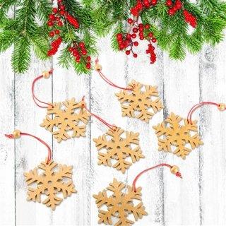 12 Sterne Anhänger Schneeflocke Holz gold rot Weihnachtsdeko Fensterdeko Geschenkanhänger