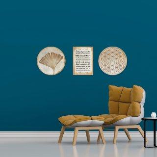2 runde Wandbilder 31 cm + 1 Sprüchebild DIN A4 - Wanddeko Bilder zum Aufhängen Gold glänzend aus Alu Dibond