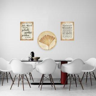 3 Wandbilder Deko Set - Sprüche Bilder + Ginkgo rund - 31 cm - Wanddeko zum Aufhängen Geschenk