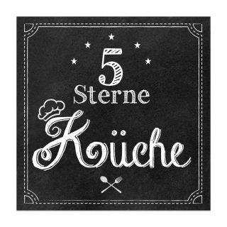 Dekoschild 5 Sterne KÜCHE 30 cm - Wandschild Türschild Küchenschild schwarz weiß