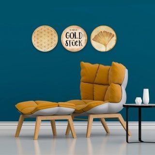 Wandbilder Set 31 cm - Wanddeko goldfarben glänzend Goldstück + Lebensblume + Ginkgo - Geschenkset