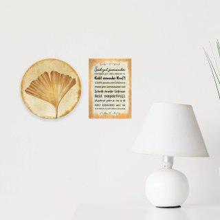 Wandschilder Set Ginkgo 31 cm + Sprüche Bild Werte 21 x 30 cm - gold beige Alu Dibond