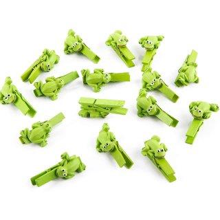 16 kleine Frosch Klammern zum Dekorieren + Basteln - 4,5 cm - als Dekoklammer Zierklammer