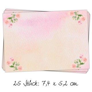 25 kleine Aufkleber rechteckig 7,4 x 5,2 cm Namensaufkleber rosa pink vintage Etiketten für Kinder zum Beschriften