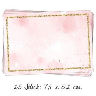 25 Sticker zum Beschriften 7,4 x 5,2 cm - rosa Adressaufkleber Namensaufkleber Etiketten für Mädchen