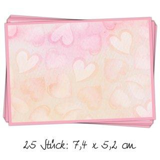 25 kleine Aufkleber 7,4 x 5,2 cm mit rosa Herzen - Etiketten Adressetiketten zum Beschriften für Mädchen