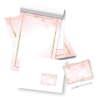 Briefpapier Block DIN A5 mit 50 Blatt rosa gold + 25 Briefumschläge + Etiketten zum Briefe schreiben