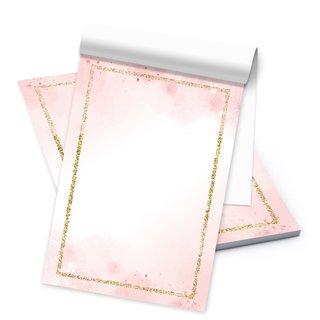 Briefpapier rosa weiß mit goldenem Rand DIN A5 Briefblock - Motivpapier Block für Einladungen