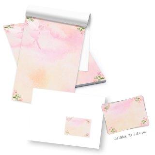 Kleiner Schreibblock DIN A5 rosa grün mit 50 Blatt + 25 Briefumschläge + Etiketten - Briefpapier Block