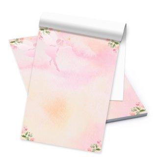 Notizblock DIN A5 mit 50 Blatt Briefpapier rosa grün mit Fee + Blumen - kleiner Schreibblock für Mädchen