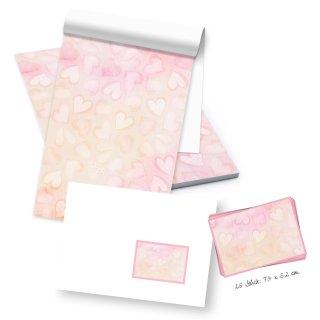 Briefpapier Block A5 mit rosa Herzen 50 Blatt + 25 Briefumschläge + Etiketten - Briefblock Schreibblock