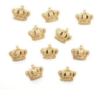10 kleine Kronen aus Polyresin 2,5 cm gold mit Klebepunkt - Streudeko Verzierung Verpackung