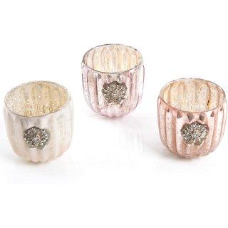 3 Teelichtgläser pastellfarben rosa weiß creme Perlen Teelichthalter aus Glas - Tischdeko Hochzeit