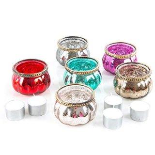 6 bunte orientalische Teelichtgläser Teelichthalter aus Glas - kleines Geschenk Deko