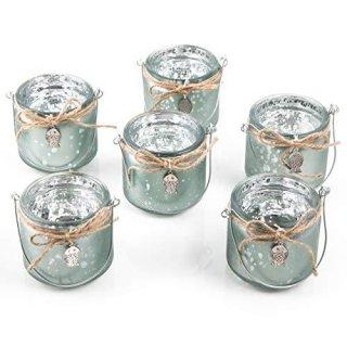 6 maritime Teelichthalter als Glas - mit Henkel - mit Fisch grün silber