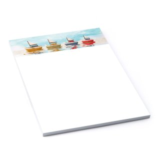Maritimer Notizblock DIN A5 100 Blatt Schiffe bunt blau aquarell Schreibblock Briefblock